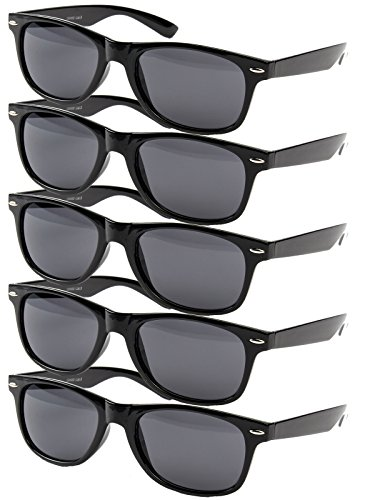 5 er Set EL-Sunprotect Nerdbrille Brille Nerd Sonnenbrille Hornbrille Way Schwarz