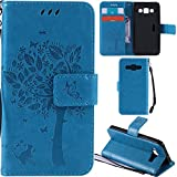 Ooboom® Samsung Galaxy A3(2014 Version) Case Cat Tree Pattern PU Leather Flip Cover Wallet Stand with Card/Cash Slots Packet Wrist Strap Magnetic Clasp for Samsung Galaxy A3(2014 Version) - Blue