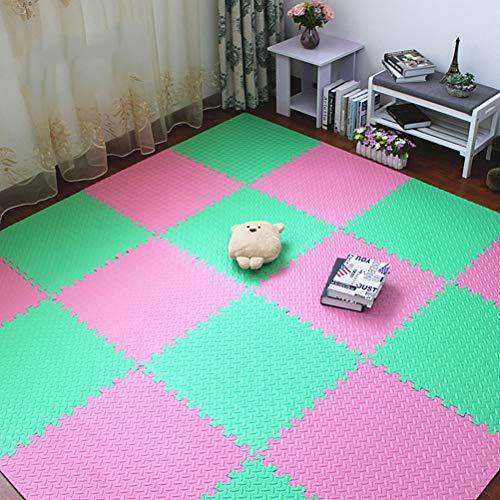 ZI LING SHOP- Bunte Puzzle Matte EVA Schaum Shaggy Teppich Puzzle Matte Plüsch Weiche Teppich Kinder Baby Spielmatten Wohnkultur blanket (Color : C, Size : 25 pieces) - Eva-plüsch