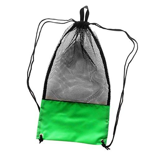 MagiDeal Netzbeutel Mesh Bag, Netztasche mit Schultergurt (74cm x 33cm) für Erwachsene Tauchen Schnorcheln Schwimmen Ausrüstung Rucksack Aufbewahrungsbeutel Tragetasche Flossentasche - Grün und Schwarz