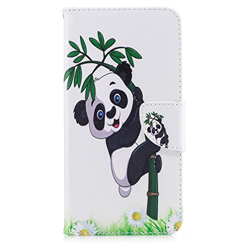 iPhone 7 Plus (5.5 pouce) Coque , PU Cuir Étui Protection Wallet Housse la Haute Qualité Pochette Anti-rayures Couverture Bumper Magnétique Antichoc Case Anfire Cover pour iPhone 7 Plus - Bleu et Papi Panda et Bambou