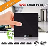 【2GB RAM + 16GB ROM】 TV Box Android 7.1-Mini TV Box de 2GB RAM + 16GB ROM, 2018 Última CPU Amlogic S905W, WiFi 2.4GHz, Doble USB, H.265, HDMI & AV