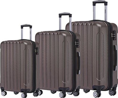 BEIBYE TSA Schloß, Zwillingsrollen, Dehnungsfuge, Hartschale Trolley Koffer Kofferset Reisekoffer Gepäckset (Coffee)