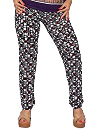Comix Women Lycra Fabric Comfort Fit Ankle Length Printed Stylish Leggings (Black,XL)