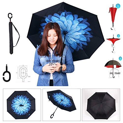 Parapluie Inversé Innovant Parapluie Canne Double Couche Coupe-Vent Anti-UV Soleil Pluie Meilleur Compact Voyage Parapluie Pour La Voiture SKY TEARS® (Nacht Schnee, 106×80cm/41.7×31.5inch)