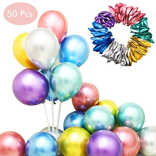 Amycute 50 stücke 12 Zoll Luftballons Metallic Bunt Latexballons Metallfarbe Dekoration für Hochzeit Weihnachten Geburtstag Luftballon Party Deko.