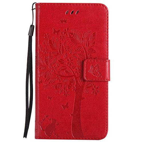 ISAKEN Compatibile con Samsung Galaxy J7 2017 Custodia, Libro Flip Cover Portafoglio Wallet Case Albero Design in Pelle PU Protezione Caso con Supporto di Stand/Carte Slot/Chiusura - Rossa
