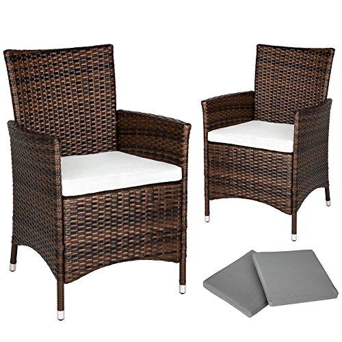 TecTake 2 x Ratán sintético silla de jardín set marco de aluminio marrón con cojines + 2 Set de fundas intercambiables, tornillos de acero inoxidable