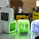 #10: ShoppoWorld 7 Colour Changing LED Digital Alarm Clock with Date, Time, Temperature For Office Bedroom
