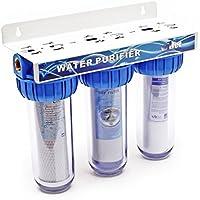Naturewater NW-BR10B4 3-etapa filtro 1,27 cm (mm 20,67) filtro de sedimentos, bloque de carbón activo, llave