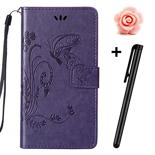 Custodia iPhone 7, Custodia iPhone 7S a portafoglio, prodotto TOYYM di alta qualità, decorazione con Fiori/Animali/ Personaggi, in ecopelle [chiusura magnetica] con Slot per carte per Iphone Apple 7 p Purple