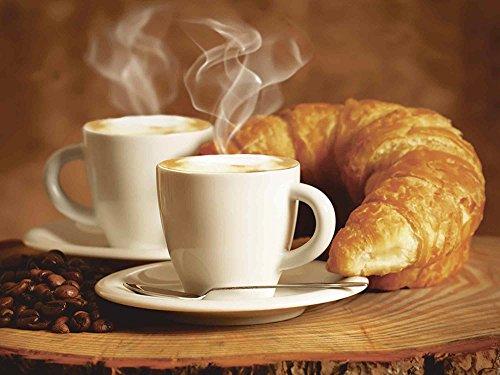 Artland Qualitätsbilder I Glasbilder Deko Glas Bilder 80 x 60 cm Ernährung Genuss Getränke Kaffee Foto Braun A7EZ Dampfender Cappuccino und Croissant