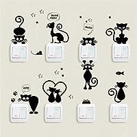 Switch Sticker, 1 Set/8pcs Cute Rabbit/Cat Creative Light Switch Decals Bedroom Wall Laptop Stickers