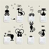 Interruttore adesivo, 1 set / 8pcs carino coniglio/gatto creativo interruttore della luce decalcomanie adesivi murali camera da letto del computer portatile (gattino)