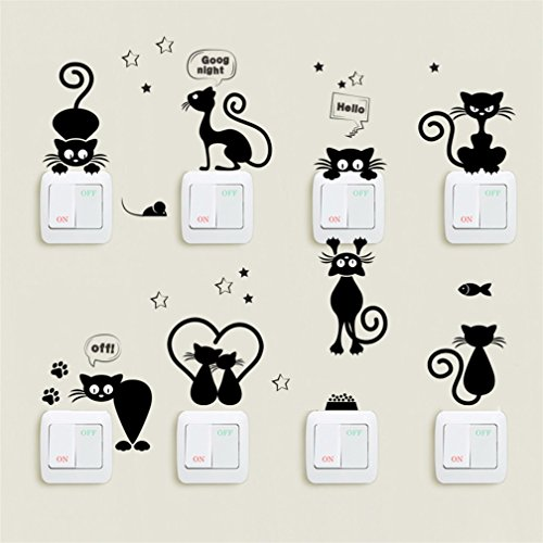 Vinilos para interruptores, 1 set/8 unids lindo conejito/gato creativo interruptor de luz calcomanías dormitorio pared portátil pegatinas (Gatos)