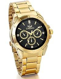JewelryWe Diseño Nuevo Reloj De Caballero Dorado, Reloj Casual Elegante De Negocios, 3 Ojos Decorativos, Esfera Negra Atractiva, Relojes Hombre
