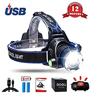 Aukelly LED Head Torches Headlamps Head Torch Rechargeable,LED Headlamp Super Bright,Waterproof,Zoomable,4 Modes,Headlamps Rechargeable XML-T6 Headlamp,for Camping,Hiking,Include 18650 Battery