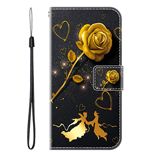 vingarshern Case for Xiaomi Mi A1 Holster Inner Silicone Holder,Standing Magnetic Closure Protective PU Faux Leather Case Wallet for Xiaomi Mi A1 Cover With Card Slots(Golden Rose)
