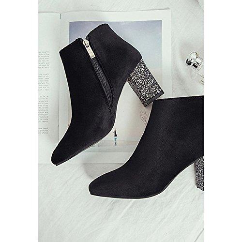 HSXZ Scarpe donna pu inverno Comfort stivali tacco alto punta tonda Mid-Calf scarponi per Outdoor Nero Grigio Black