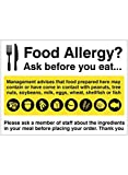 Caledonia Signs 25632K Food Allergy Notice Sign, Self Adhesive Vinyl, 400 mm x 300 mm