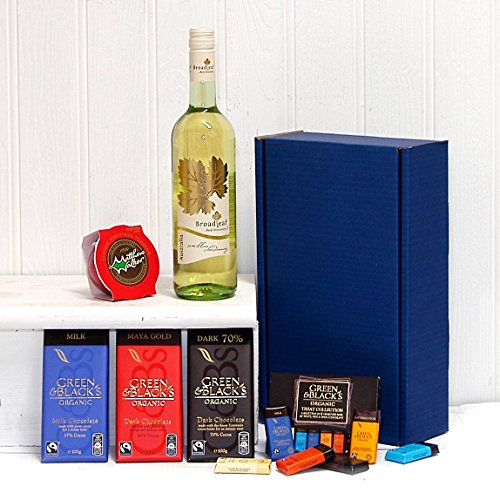 Luxury White Wine and Chocolate Survival Kit Hamper with 750ml Broadleaf White Wine Presented in a Blue Gift Box - Gift Ideas for Birthday, Anniversary and Corporate