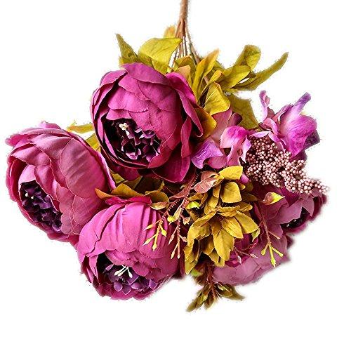 ZTTLOL 6 Pfingstrose Blumensträuße Große Kunstseide Köpfe Kleine Frische Blumen Für Die Hochzeit Hotel Haus und Büro Dekoration (In Hortensie Größe Voller)