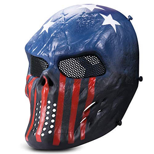 Kuyou Airsoft Maske Tactical Paintball Full Face Skull Mask Mesh Augenschutz Maske Kostüm Maske (Dunkel ()