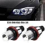 2pcs 1000LM Angel Eyes Light Car LED Bulbs Halo Ring Marker 5W 6000K White for BMW E39 E53 E63 E64