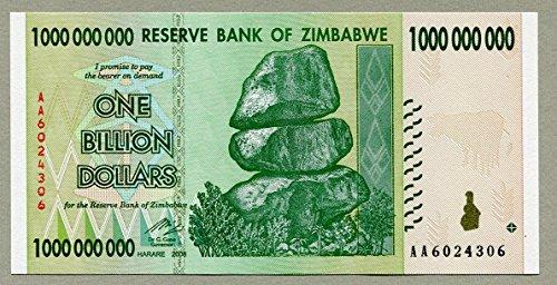 Beverly Oaks Zimbabwe 1 Billion Dollar Bank Note 2008 Uncirculated