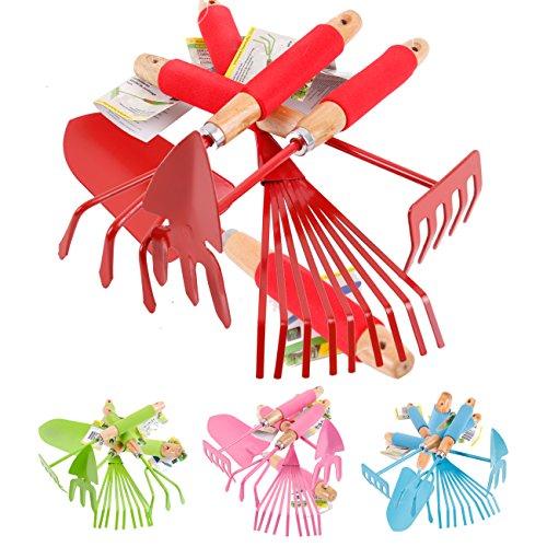 Gartenwerkzeug Set 5-teilig - Kleingeräte Grundausstattung für Garten & Balkon (Rot)