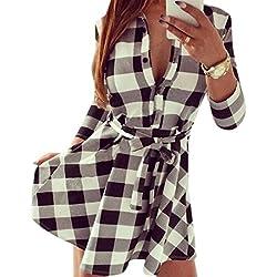 QIYUN.Z 3/4 De La Manga De Las Mujeres Impresas Nueva Tela Escocesa De Las Camisas V Tunica Del Cuello Del Vestido Del Vendaje Con Cinturones