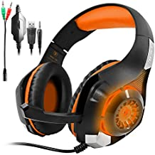 GM-1 Gaming Headset per PS4 Xbox One Tablet PC Telefono Cellulare, AFUNTA Stereo Retroilluminato a LED per Cuffie con Microfono-Arancio