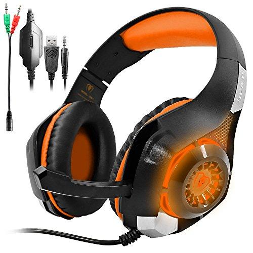 GM-1 Gaming Headset für PS4 Xbox One PC Tablet Smartphone,Stereo LED Backlit Kopfhörer mit Mikrofon von AFUNTA-Apfelsine Mac Boom Pro