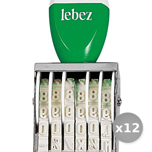 Set 12 LEBEZ timbro numeratore 06 colonne 5mm 2231 cancelleria