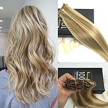Sunny 20inch highlight clip extension - bionda dorato con cenere scuro scu biondo 16/22# - extension capelli veri clip - highlights biondo 9pcs/140g