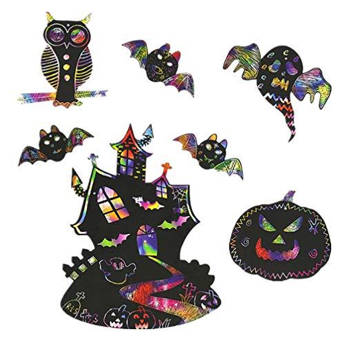 Amosfun Halloween-Kratzpapier, Kürbis-Kratzer, Bastelset für Halloween, hängende Ornamente für Kinder