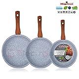 Magefesa Marmol - Set Juego 3 Sartenes 18-20-24 cm inducción antiadherente granito piedra libre de PFOA, limpieza lavavajillas apta para todas las cocinas, vitroceramica, gas, Fabricadas en España