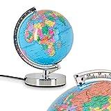 Globe terrestre lumineux en métal, chrome et plastique - Lampe de table pour chambre d'enfant avec variateur d'intensité tactile 3 niveaux - Idéal pour les écoliers - Lampe de bureau