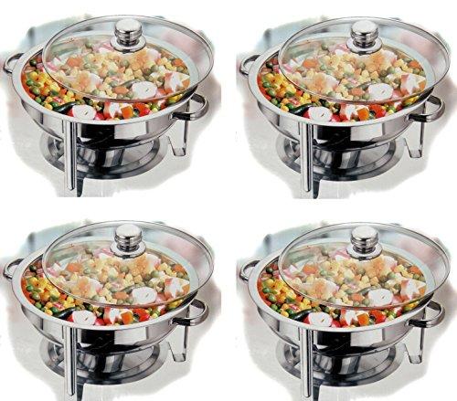 Vinod 4Sets rund 4Sets Chek Kraft rund Chafing Dish-4,5ltr. Tisch Top Speisewärmer Bain Marie Container