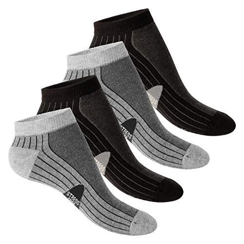 Footstar 4 Paar STRESS FREE Sneaker Socken Schwarz-Grau-43-46 - Kurze Radsocken