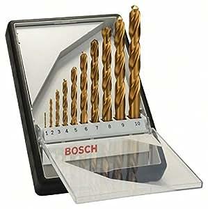 Bosch 2607010536 Coffret de forets à métaux au titane HSS-TIN Robust Line Ø 1/2/3/4/5/6/7/8/9/10 mm 10 pièces