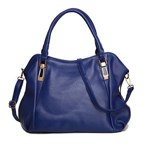 Fashion Damen Leder Handtasche Schultertasche Umhängetasche Tasche blau (Handtaschen Tragetaschen Stoff Geldbörsen Wallets)