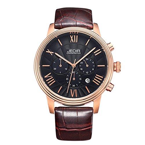 Gute pour homme Rose Doré 38mm Montre à quartz cadran noir analogique et bracelet en cuir synthétique Marron