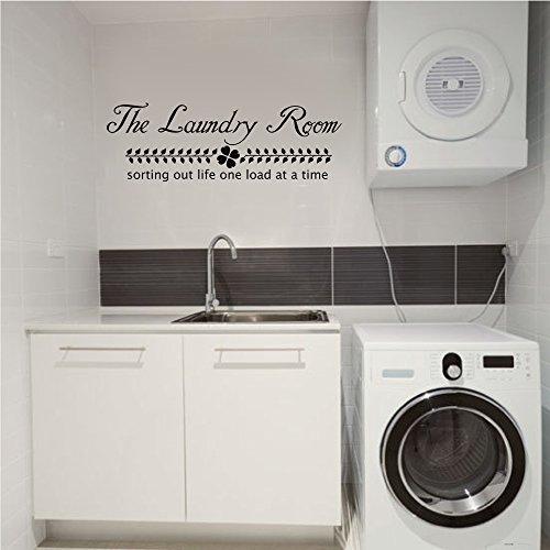 Wäschekorb Schild-Die Waschküche Aufkleber-Sorting Out Life. Vinyl Aufkleber Wand Zitat, Vinyl, schwarz, 11