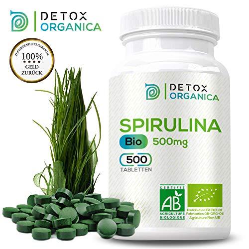 DetoxOrganica Spirulina Bio Presslinge // 500 reine Spirulina Tabletten 500mg // Deutsche Expertise, Hergestellt in England