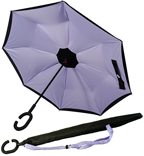 Image of P.I. Home Store - Reverse folding action Double Layered Windproof Umbrella - Black and Lilac with Handsfree C-handle , Unique protection stub and carry bag