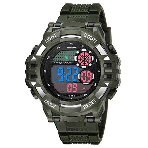 Fittingran orologio orologio da uomo, sportivo militare multifunzione da uomo a led con doppio movimento digitale. orologio da polso impermeabile (army green)