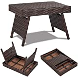 COSTWAY Portable Wicker Table for Indoor & Outdoor, Premium Metal and Waterproof PE, Foldable Design for Space Saving, Freestanding Coffee Rattan Side Table, Mix Brown