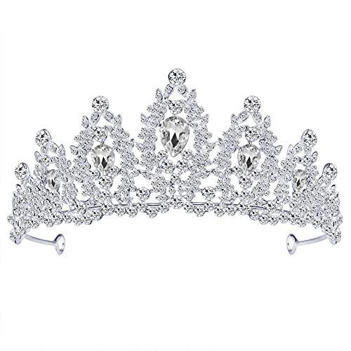 ss Diadem Haarspange Krone Metalltiara Brauttiara Die Diadem Sehr schöne Glitzerkrone 14,3 * 6,4 cm ()