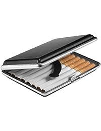 VVAY Zigarettenetui Leder, Elegant Zigarettenbox, Zigaretten Etui Box 16 Zigaretten, 95mm (Schwarz)